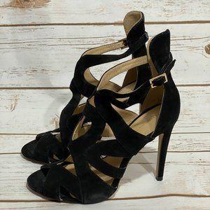 Zara Black Strappy Suede Heels with Buckle